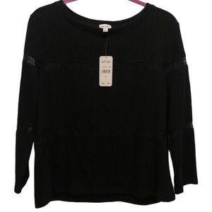 Splendid Black Long Sleeve Blouse XL NWT